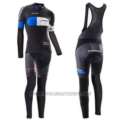 2016 Cycling Jersey Women Orbea Blue and Black Long Sleeve and Bib Tight