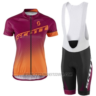 2016 Cycling Jersey Women Scott Red and Orange Short Sleeve and Bib Short