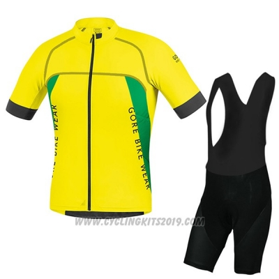 2017 Cycling Jersey Gore Bike Wear Power Alp-x pro Yellow Short Sleeve and Bib Short