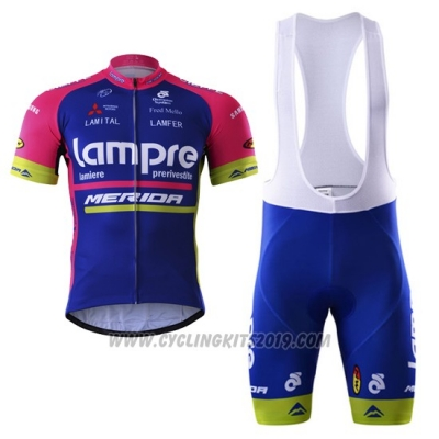2017 Cycling Jersey Lampre Merida Blue Short Sleeve and Bib Short