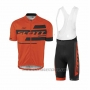 2017 Cycling Jersey Scott Orange Short Sleeve and Salopette