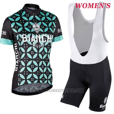 2017 Cycling Jersey Women Bianchi Green Short Sleeve and Bib Short