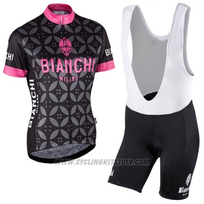 2017 Cycling Jersey Women Bianchi Pink Short Sleeve and Bib Short