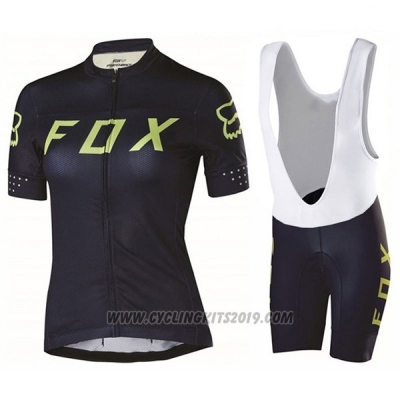 2017 Cycling Jersey Women Fox Black and Green Short Sleeve and Bib Short