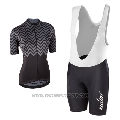 2017 Cycling Jersey Women Nalini Gray and Black Short Sleeve and Bib Short