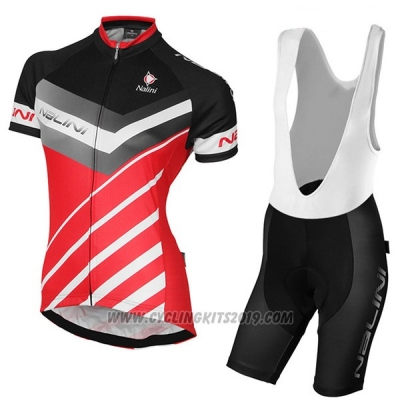 2017 Cycling Jersey Women Nalini Zebrana Red and Black Short Sleeve and Bib Short