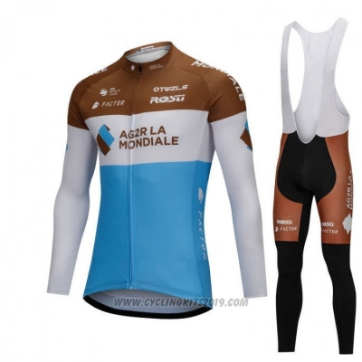 2018 Cycling Jersey Ag2rla Blue and White Long Sleeve and Bib Tight