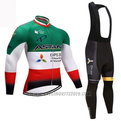 2018 Cycling Jersey Astana Champion Italy Long Sleeve and Bib Tight