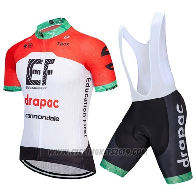 2018 Cycling Jersey Cannondale Drapac White and Red Short Sleeve and Bib Short