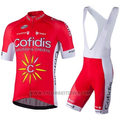 2018 Cycling Jersey Confidis Red Short Sleeve and Bib Short