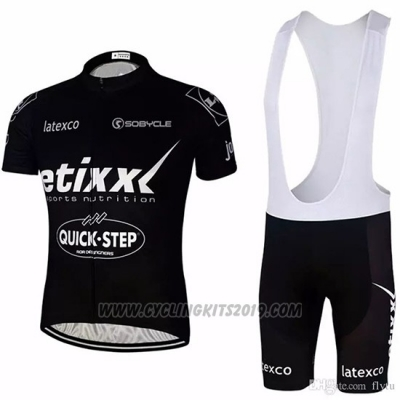 2018 Cycling Jersey Etixx Quick Step Black Short Sleeve and Bib Short