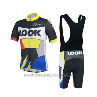 2018 Cycling Jersey Look Black Yellow Blue Short Sleeve and Bib Short