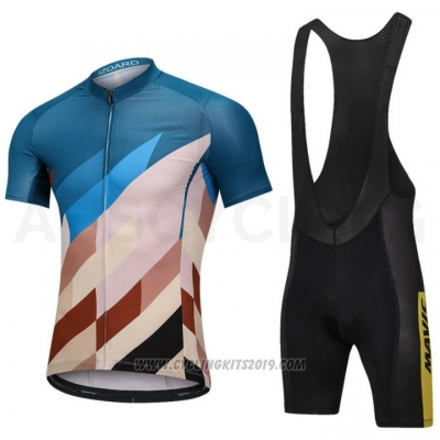 2018 Cycling Jersey Mavic Blue and Marron Short Sleeve and Bib Short