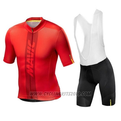 2018 Cycling Jersey Mavic Red Short Sleeve and Bib Short