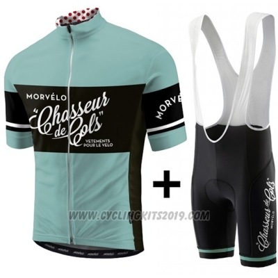 2018 Cycling Jersey Morvelo Green and Black Short Sleeve and Bib Short