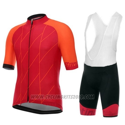2018 Cycling Jersey Santini Ace Red Short Sleeve and Bib Short