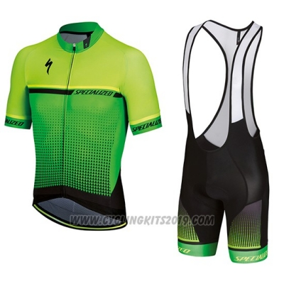 2018 Cycling Jersey Specialized Yellow Green Black Short Sleeve and Bib Short