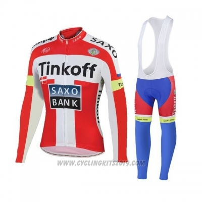 2018 Cycling Jersey Tinkoff Saxo Bank Red White Long Sleeve and Bib Tight