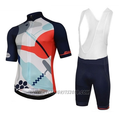 2018 Cycling Jersey Tour Down Under Santini Red Short Sleeve and Bib Short
