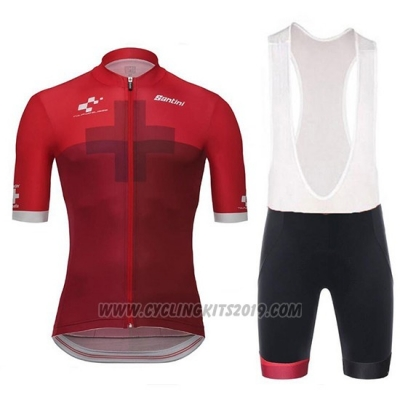 2018 Cycling Jersey Tour de Suisse Cross Red Short Sleeve and Bib Short