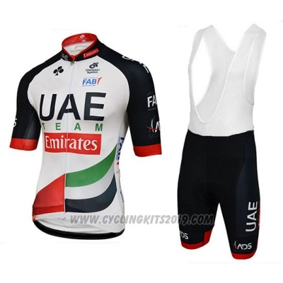 2018 Cycling Jersey UCI Mondo Campione Leader Uae White Short Sleeve and Bib Short
