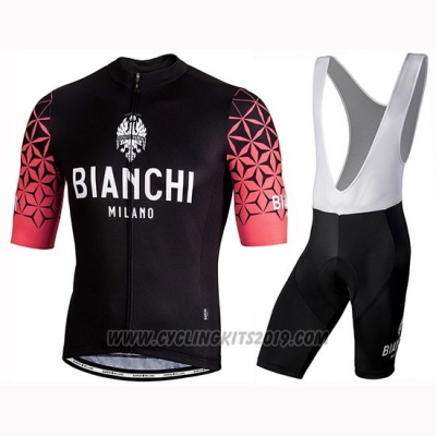 2019 Cycling Jersey Bianchi Milano Conca Black Red Short Sleeve and Bib Short