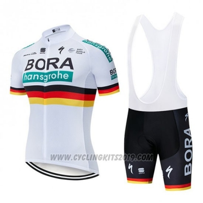 2019 Cycling Jersey Bora Champion Belgium White Short Sleeve and Bib Short