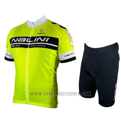 2019 Cycling Jersey Nalini Black Bright Green Short Sleeve and Bib Short