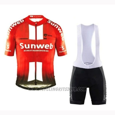 2019 Cycling Jersey Sunweb Orange White Short Sleeve and Bib Short