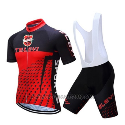 2019 Cycling Jersey Teleyi Bike Red Black Short Sleeve and Bib Short