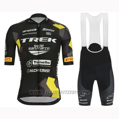2019 Cycling Jersey Trek Selle San Marco Black Yellow Short Sleeve and Bib Short