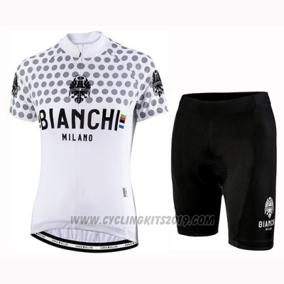 2019 Cycling Jersey Women Bianchi Dot White Short Sleeve and Bib Short