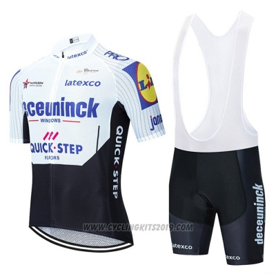2020 Cycling Jersey Deceuninck Quick Step White Black Short Sleeve and Bib Short