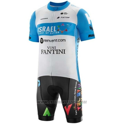 2020 Cycling Jersey Israel Cycling Academy Light Blue White Short Sleeve and Bib Short