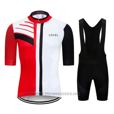 2020 Cycling Jersey Le Col Black White Red Short Sleeve and Bib Short