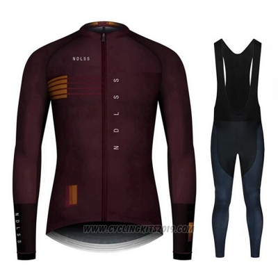 2020 Cycling Jersey NDLSS Marron Red Long Sleeve and Bib Tight