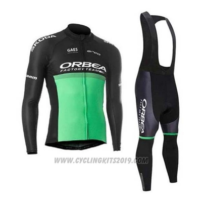 2020 Cycling Jersey Orbea Black Green Long Sleeve and Bib Tight