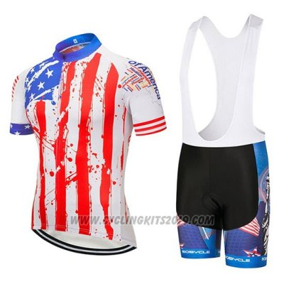 2020 Cycling Jersey USA Blue Red White Short Sleeve and Bib Short