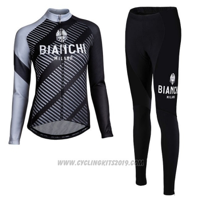 Cycling Jersey Women Bianchi Milano Catria Black Gray Long Sleeve and Bib Tight