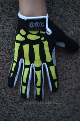 Skull Full Finger Gloves Cycling Black and Yellow