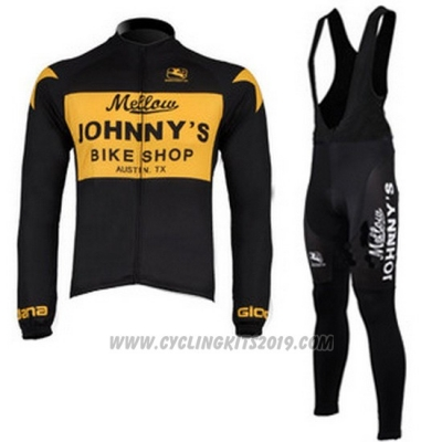 2010 Cycling Jersey Johnnys Black and Yellow Long Sleeve and Bib Tight