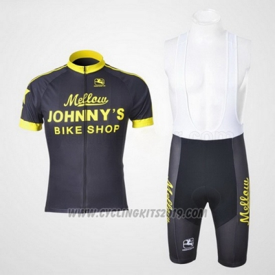 2010 Cycling Jersey Johnnys Black and Yellow Short Sleeve and Bib Short