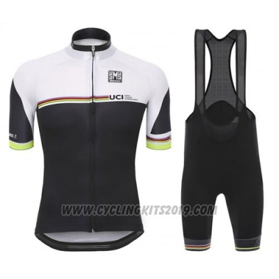 2010 Cycling Jersey Santini UCI World Champion Lider Black and White Short Sleeve and Bib Short