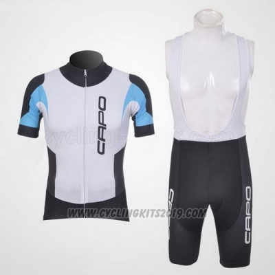 2011 Cycling Jersey Capo Black and White Short Sleeve and Bib Short
