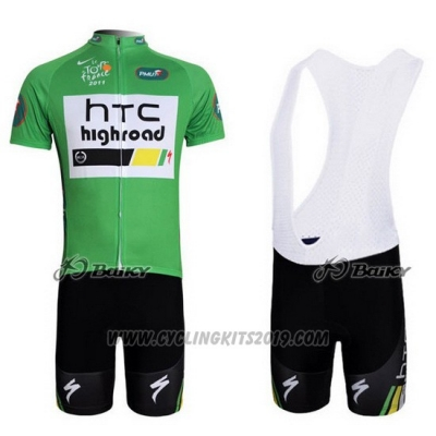 2011 Cycling Jersey HTC Highroad Green and White Short Sleeve and Bib Short