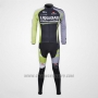 2011 Cycling Jersey Liquigas Cannondale Black and Green Long Sleeve and Bib Tight