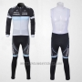 2011 Cycling Jersey Trek Leqpard Black and Sky Blue Long Sleeve and Bib Tight