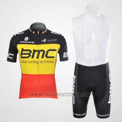 2012 Cycling Jersey BMC Campione Belgium Yellow and Red Short Sleeve and Bib Short