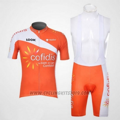 2012 Cycling Jersey Cofidis Orange Short Sleeve and Bib Short