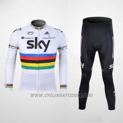 2012 Cycling Jersey Sky UCI Mondo Campione Black and White Long Sleeve and Bib Tight